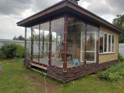 Мягкие окна для летней кухни с верандой в Обнинске
