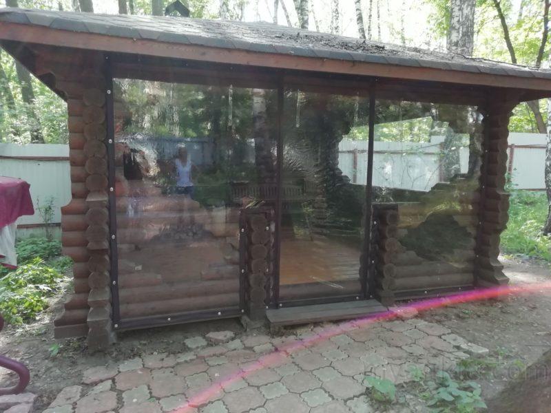 купить Мягкие окна для беседки с крепление на бревенчатое основание